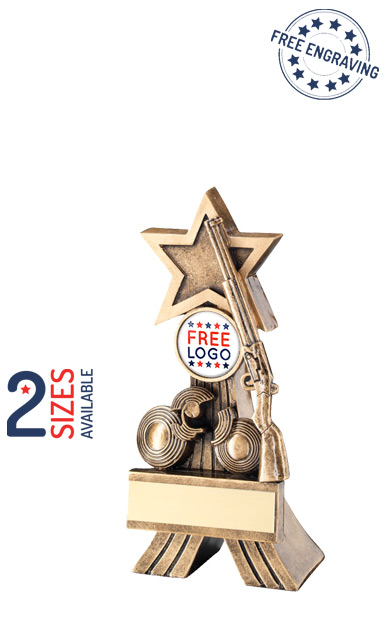 Rifle and Clay Shooting Star Resin Trophy- RF533