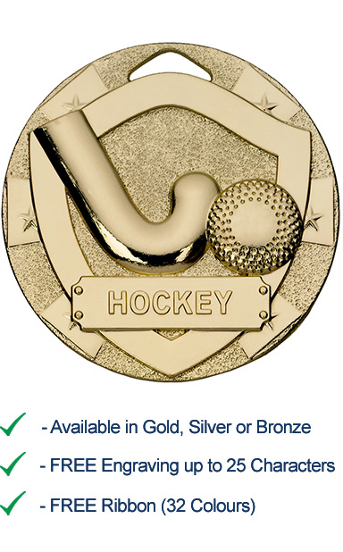 Gold Hockey Shield Medal - Die Cast - 50mm - FREE RIBBON - G775
