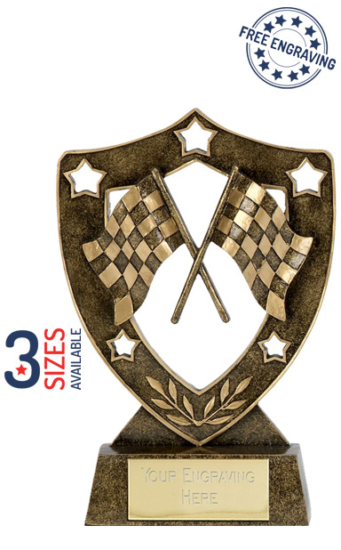 Shield Star Chequered Flag Resin Trophy- N01039