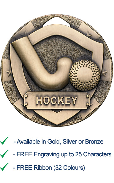 Bronze Hockey Shield Medal - Die Cast - 50mm - FREE RIBBON - G777