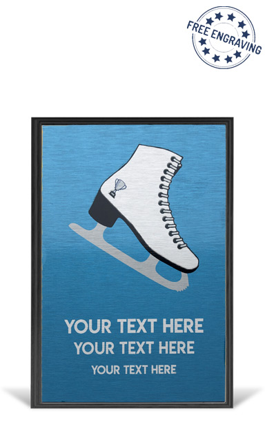 "Ice Skating Black 6"" Wooden Plaque - Metallic Silver Finish"