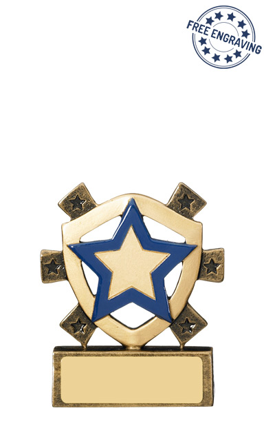 Mini Shield Blue House Resin Trophy - RM681