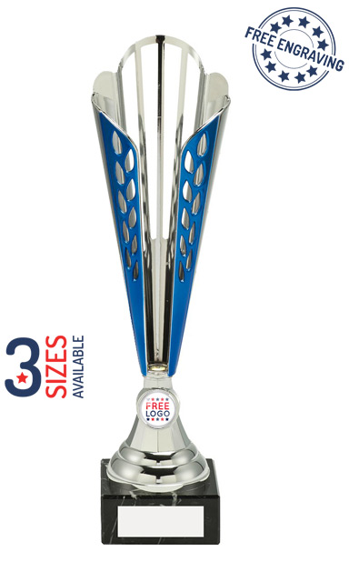 Silver & Blue Tall Trophy Cup - AT09