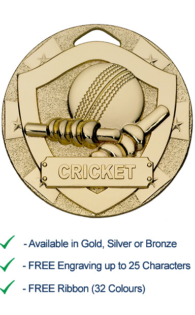 Gold Cricket Shield Medal - Die Cast - 50mm - FREE RIBBON - G760