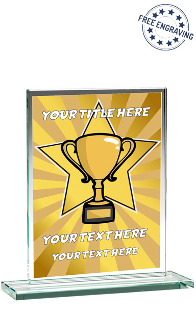 DESIGN YOUR OWN GOLD STAR SCHOOL GLASS PLAQUE (16.5cm)