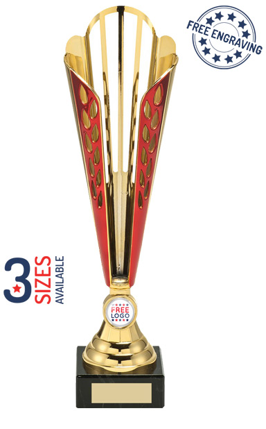 Gold & Red Tall Trophy Cup - AT08