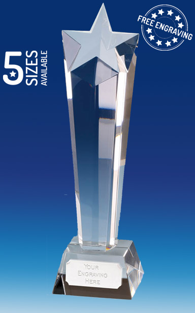 TOWERING STAR CRYSTAL GLASS AWARD - Presentation Box - KK005