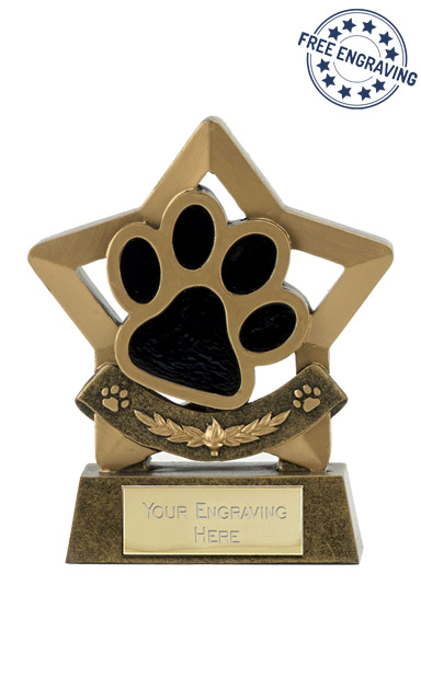 Mini Star Dog / Cat Paw Resin Trophy - A1665
