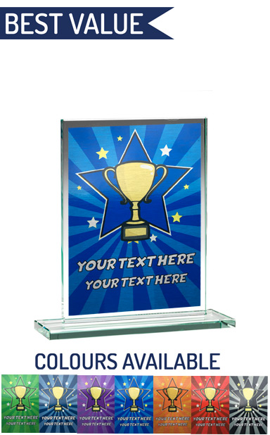 SCHOOL COLOUR ENGRAVED GLASS PLAQUE 2 (14cm)