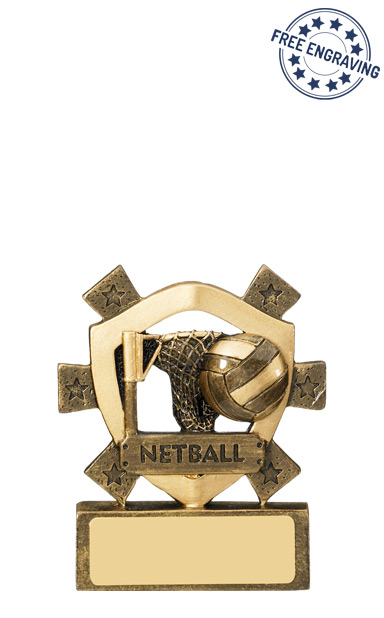 Mini Shield- Netball Resin Trophy - RM629-GW