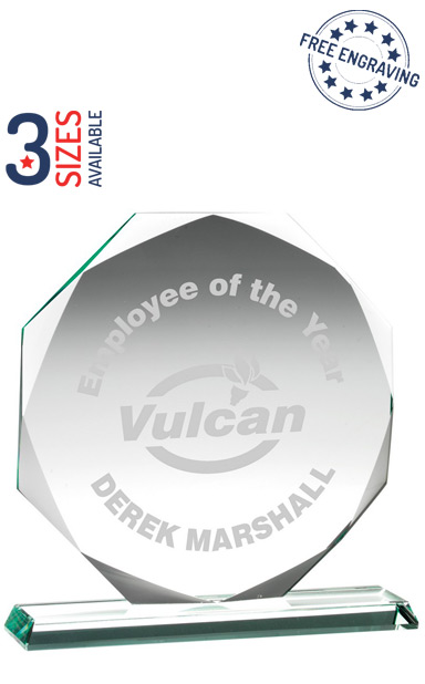 OCTAGON LUXURY GLASS AWARD - 10mm thickness - Presentation Box - KG1