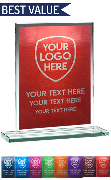 COLOUR ENGRAVED GLASS PLAQUE (21cm)