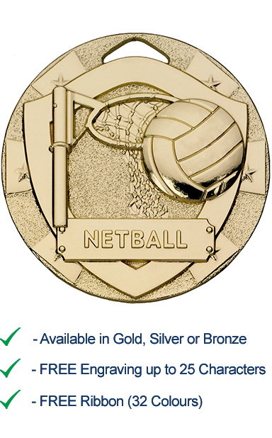 Gold Netball Shield Medal - Die Cast - 50mm - FREE RIBBON - G790