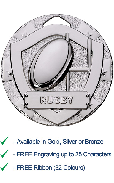 Silver Rugby Shield Medal - Die Cast - 50mm - FREE RIBBON - G796