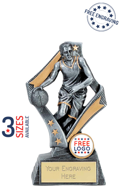 Flag Male Basketball Resin Trophy - A4093