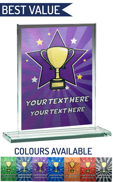 SCHOOL COLOUR ENGRAVED GLASS PLAQUE 2 (21cm)