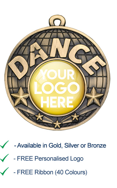 Gold Dance Medal with Your Logo - Die Cast - 50mm - FREE RIBBON - G865