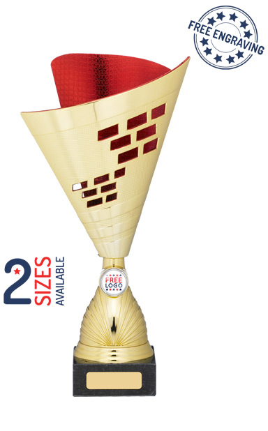 Gold & Red Cone Trophy Cup-  A1024