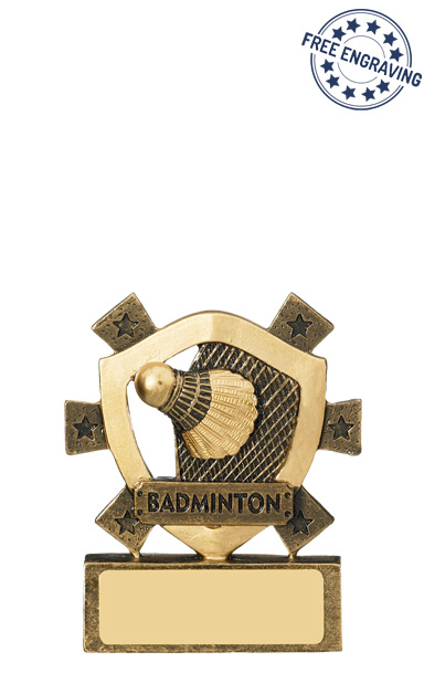 Mini Shield - Badminton Resin Trophy - RM625-GW