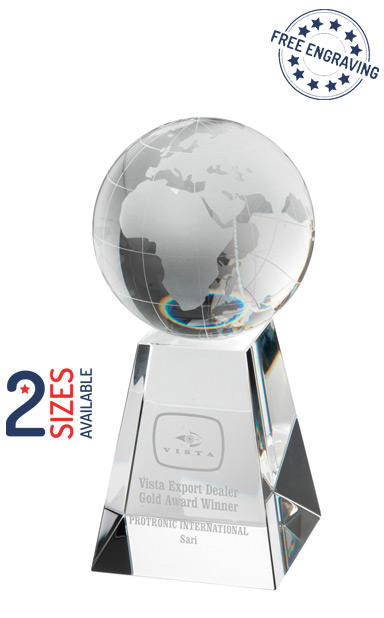 3D GLOBE ON PYRAMID BASE GLASS AWARD - JB3010