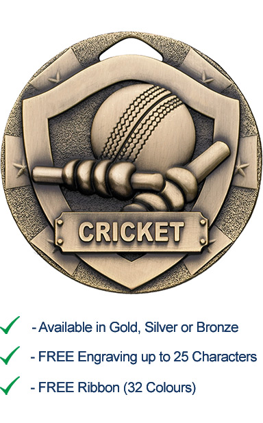 Bronze Cricket Shield Medal - Die Cast - 50mm - FREE RIBBON - G762