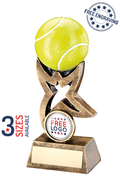 3D COLOURED TENNIS BALL ON STAR - RESIN TROPHY - RF263