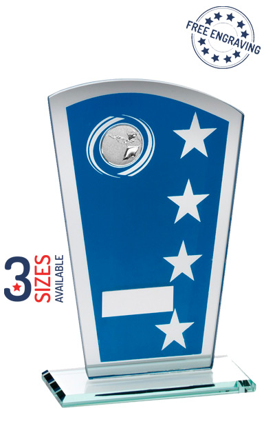 Silver & Blue Printed Shooting Glass Award - JR24-TD249