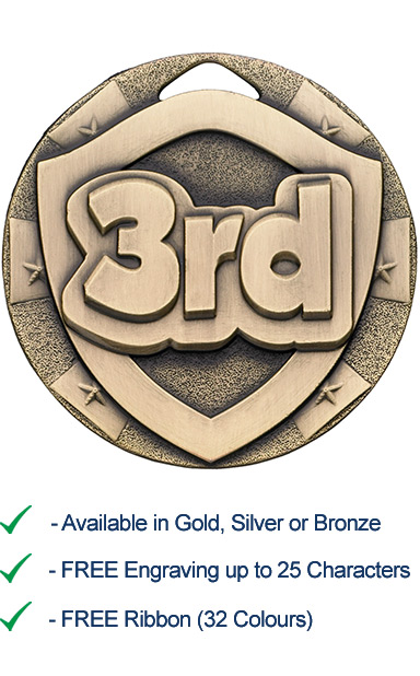 3rd Place Shield Medal - Die Cast - 50mm - FREE RIBBON - G817