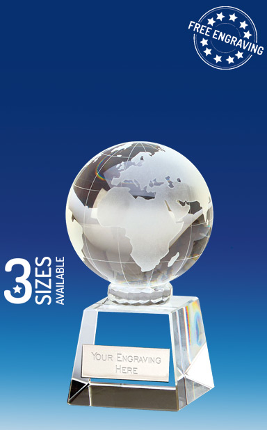VICTORY GLOBE CRYSTAL GLASS AWARD - OK037