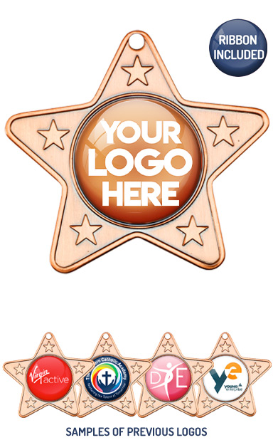 PERSONALISED M10 BRONZE YOUR DANCE LOGO STAR MEDAL - 99p or Less
