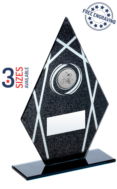 Black and Silver Diamond Cycling Glass Award - JR47-TD159G