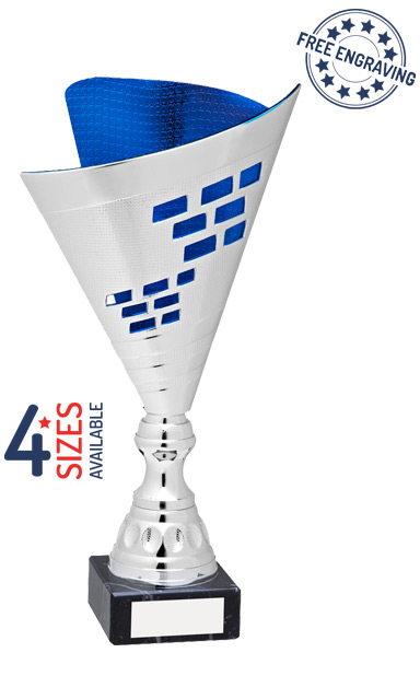 Silver & Blue Elegance Trophy Cup - AT45