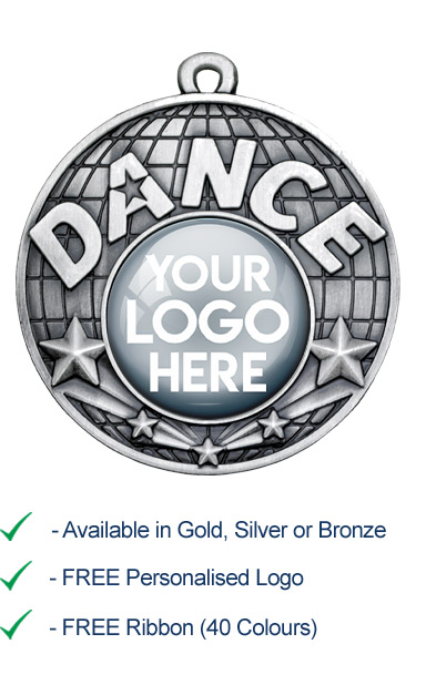 Silver Dance Medal with Your Logo - Die Cast - 50mm - FREE RIBBON - G866