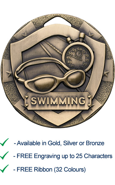 Bronze Swimming Shield Medal - Die Cast - 50mm - FREE RIBBON - G812