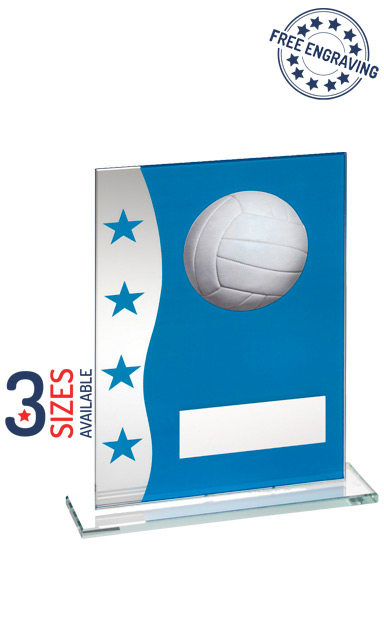 BLUE AND SILVER GLASS VOLLEYBALL AWARD - TD647