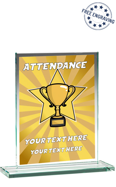 GOLD SCHOOL ATTENDANCE STAR GLASS PLAQUE (16.5cm)