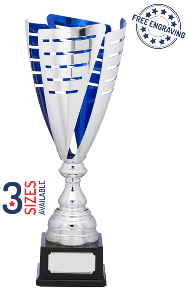 Super Silver & Blue Arrow Presentation Trophy - A1151