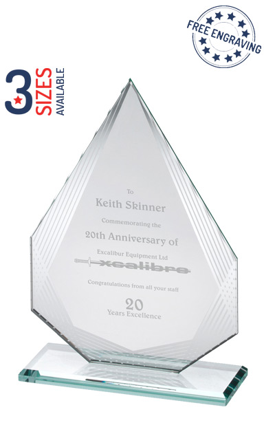 DIAMOND WITH SILVER DETAILING GLASS AWARD - SL3