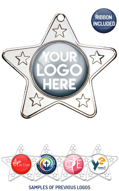 PERSONALISED M10 SILVER YOUR DANCE LOGO STAR MEDAL - 99p or Less