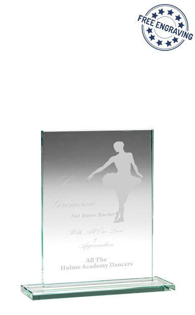 RECTANGLE PLAQUE JADE GLASS AWARD (14cm) - 10mm thickness - TP02
