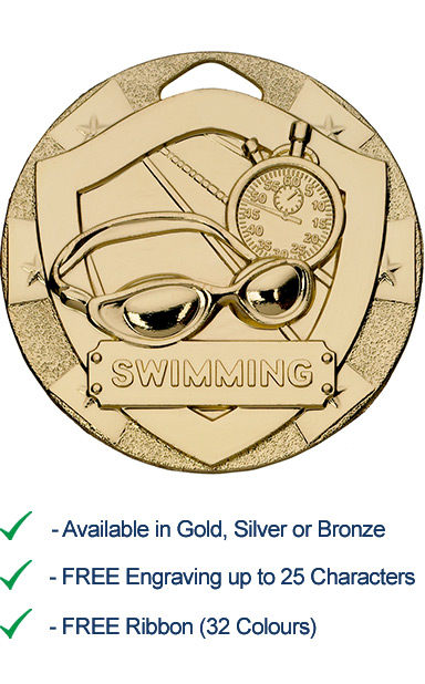 Gold Swimming Shield Medal - Die Cast - 50mm - FREE RIBBON - G810