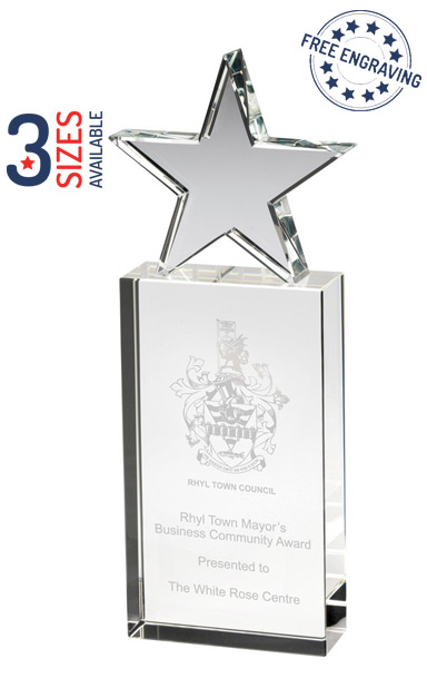 TOWER STAR GLASS AWARD - 30mm thickness - Presentation Box - JB1800
