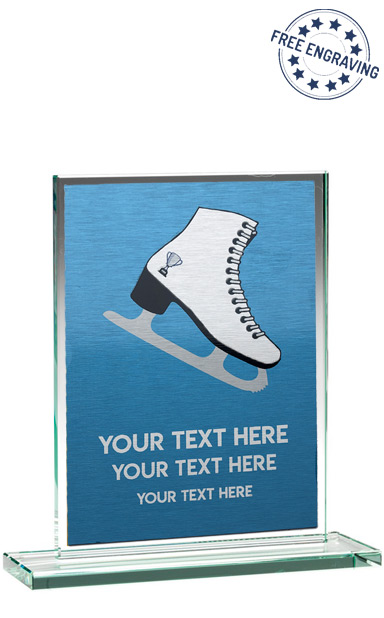 NEXT DAY ICE SKATING COLOURED GLASS PLAQUE (16.5cm)