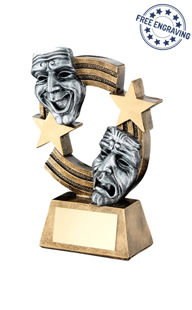 Drama Masks with Stripes & Stars Resin Trophy - RF780