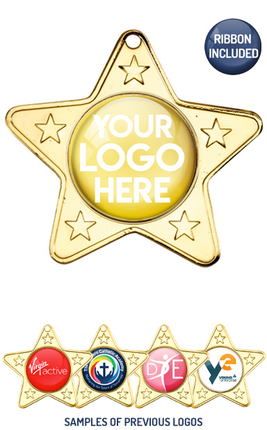 PERSONALISED M10 GOLD YOUR DANCE LOGO STAR MEDAL - 99p or Less