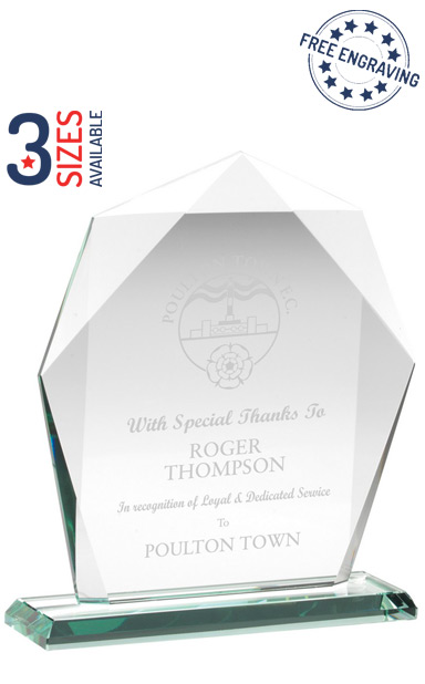 HEPTAGON LUXURY GLASS AWARD - 10mm thickness - Presentation Box - KG5