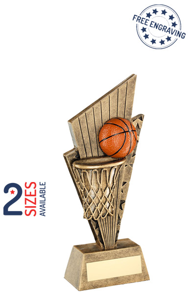 Basketball & Net Pointed Backdrop Resin Trophy - RF705