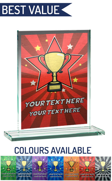 SCHOOL COLOUR ENGRAVED GLASS PLAQUE 2 (18.4cm)