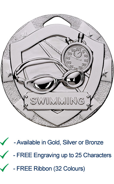Silver Swimming Shield Medal - Die Cast - 50mm - FREE RIBBON - G811