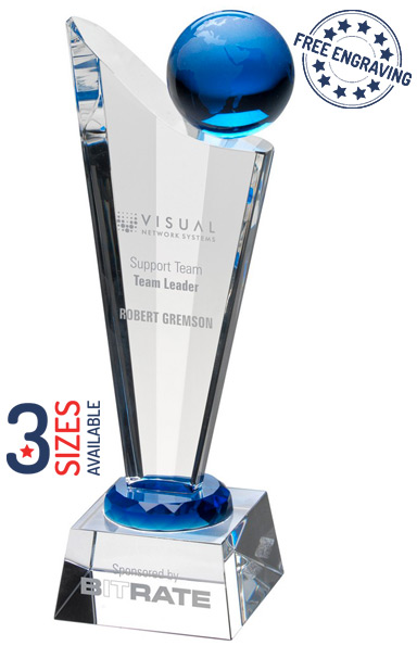 CLEAR BLUE GLOBE GLASS AWARD - JB2030